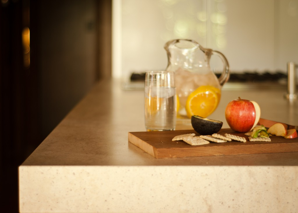 Detail of Corian countertop.